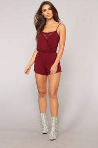 Slightly Sweet Romper - Burgundy Angle 2