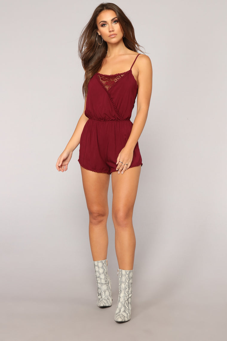 Slightly Sweet Romper - Burgundy