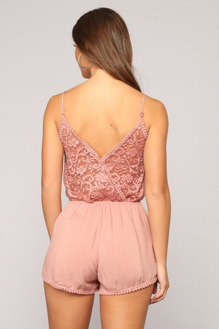 Slightly Sweet Romper - Mauve