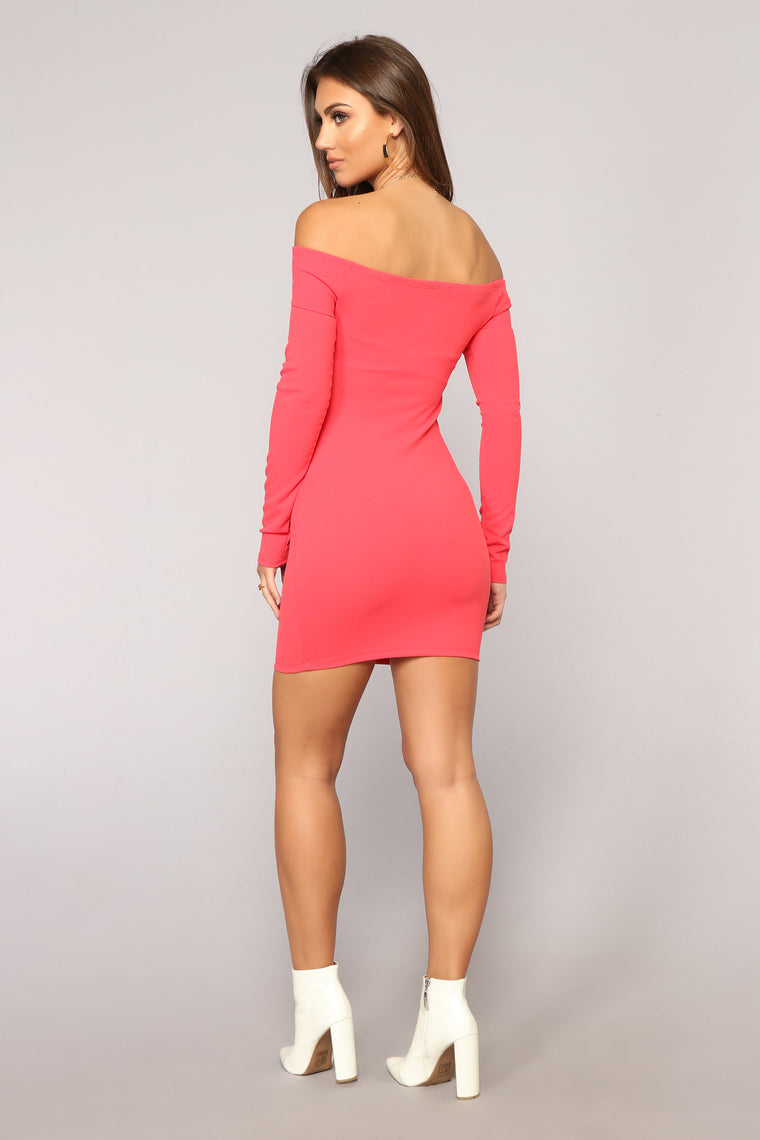 Matter Of Fiction Off Shoulder Dress - Coral