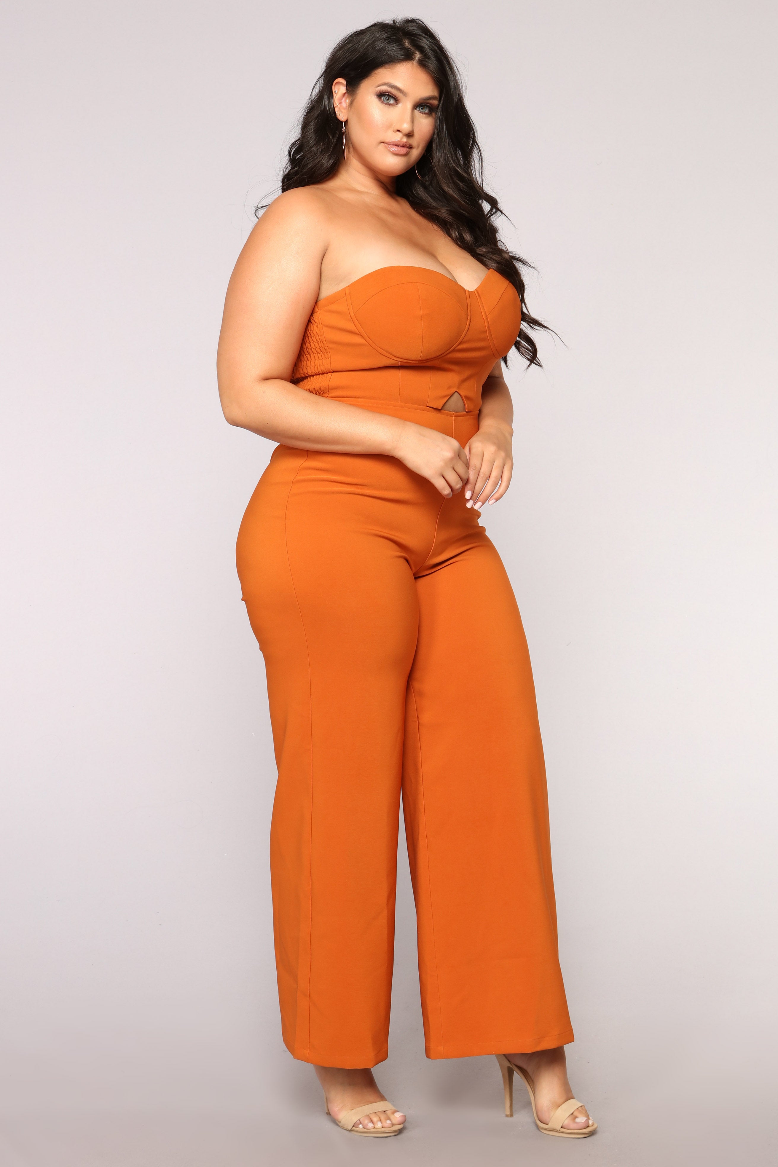 1697a2529016 Calm And Collected Strapless Jumpsuit - Rust. plus-size. plus-size.  plus-size