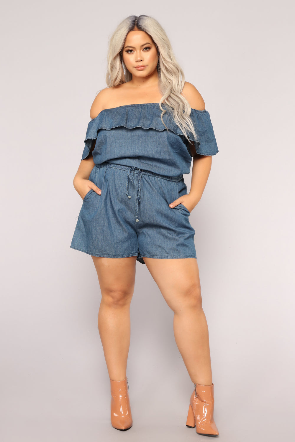 Good Day Off Shoulder Romper - Dark