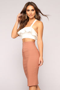 Hooked On You Pencil Skirt - Marsala