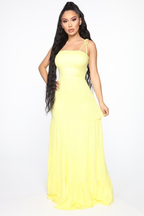 57572de0ed Full Of Romance Smocked Maxi Dress - Yellow