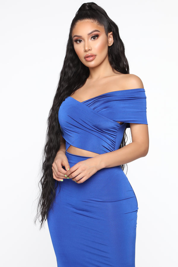 ec191782479 Cut For Elegance Off Shoulder Maxi Dress - Light Royal
