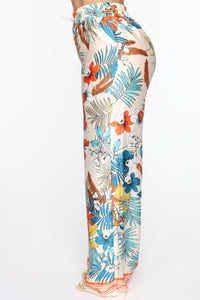 Tropical Satin Flare Pants - MultiColor