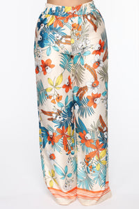 Tropical Satin Flare Pants - MultiColor Angle 3