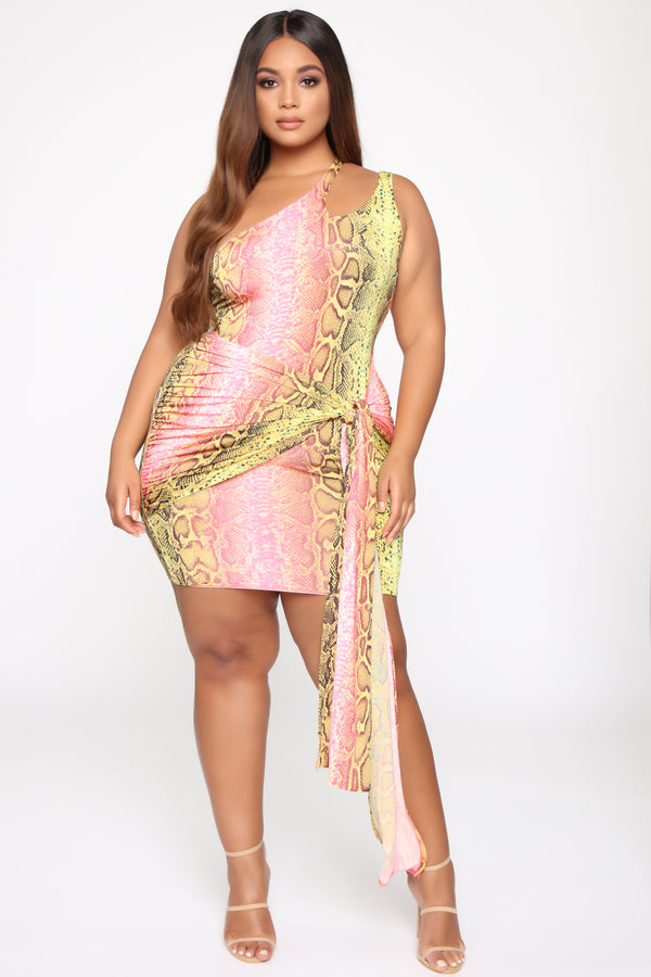 24694125e3879 Wildly Colorful One Shoulder Mini Dress - Pink/Green