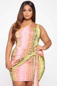 Wildly Colorful One Shoulder Mini Dress - Pink/Green Angle 5