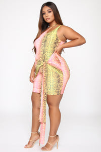 Wildly Colorful One Shoulder Mini Dress - Pink/Green Angle 7