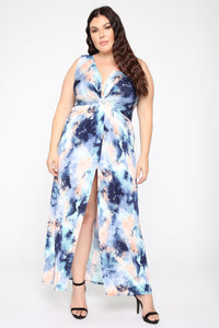 Zaira Knot Tie Dye Maxi Dress - Blue/Combo