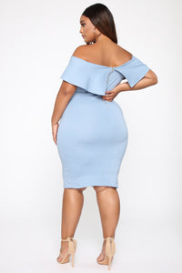 Lyla Off Shoulder Dress - Blue