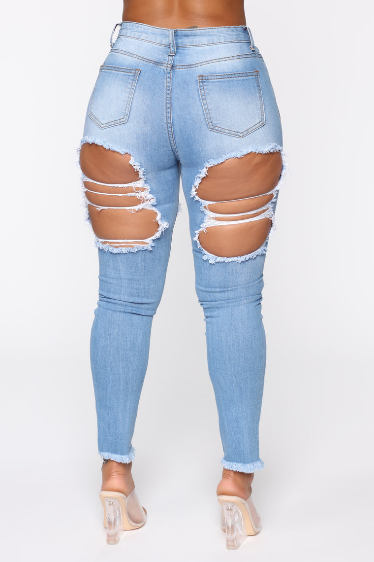 Talk Of The Town Distressed Skinny Jeans - Light Blue Wash