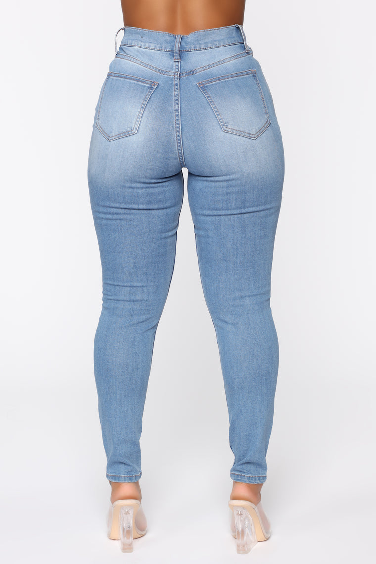 Bad Trip Exposed Button Skinny Jeans - Light Blue Wash