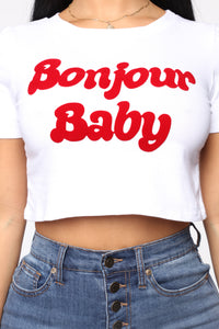 Bonjour Baby Crop Top - White Angle 2