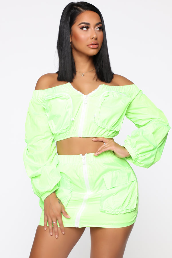 8327bc5d18eb Count On It Windbreaker Skirt Set - Neon Lime