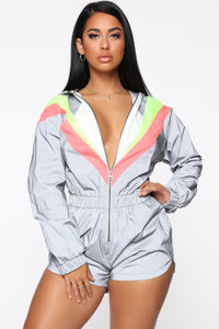 Reflective State Windbreaker Romper - Grey/Combo