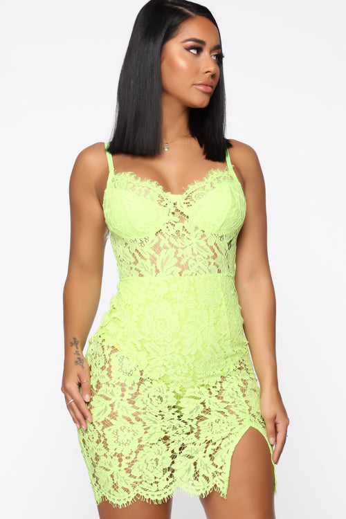 616ebd8940cee Dropping Hints Lace Dress - Neon Yellow