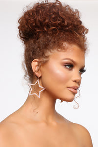 All In The Stars Hoop Earrings - Light Pink