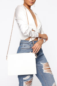 Don't Dile My Number Clutch Bag - White
