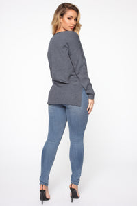Janelle V Neck Sweater - Blue