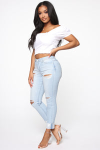Carrie High Rise Jeans - Light Blue Wash Angle 3