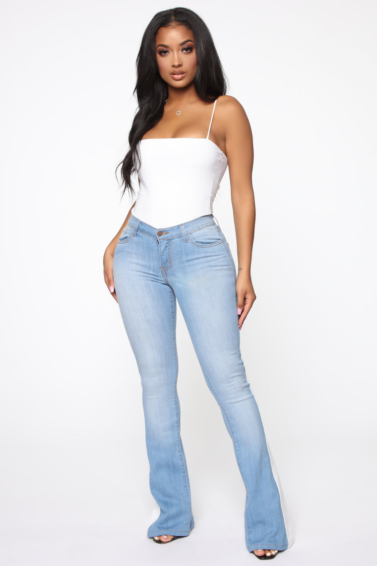 Check Yourself Flare Jeans - Medium Blue Wash