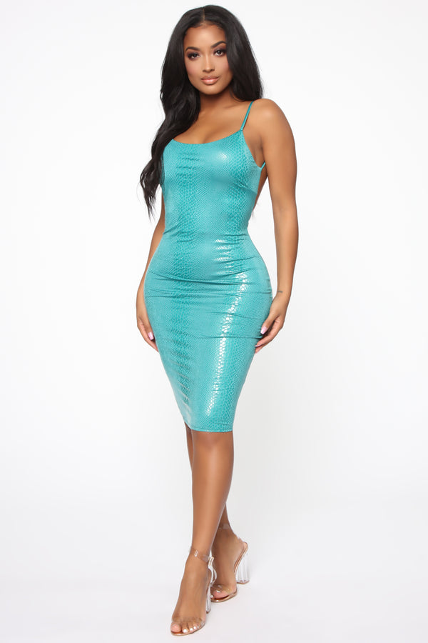 af91f1bda6c At Your Own Risk Snake Print Mini Dress - Jade