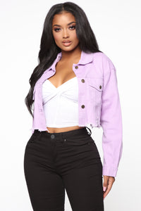 Raw Edged Babe Denim Jacket - Lavender