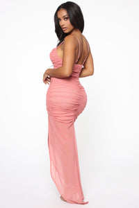 Faye Ruched Maxi Dress - Mauve Angle 4