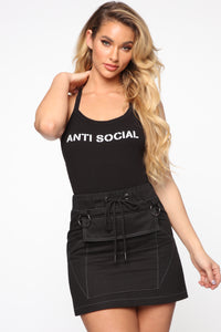 Anti Social Bodysuit - Black