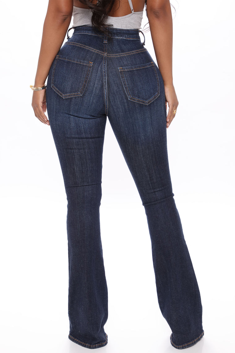 Here To Stay Flare Jeans - Dark Denim