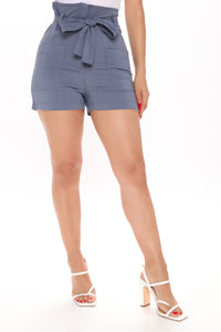 Melody Tie Waist Linen Shorts - Blue Angle 1