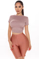 Back Action Tie Crop Top - Mocha