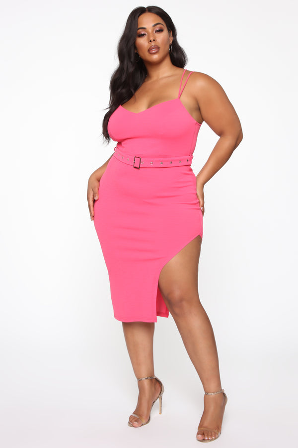 e391f7833044 Don't Mention His Ex Belted Midi Dress - Hot Pink