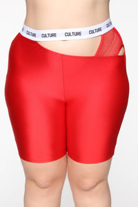Cut The Culture Biker Shorts - Red