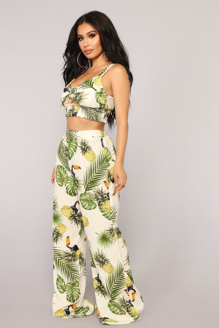 Sacha Tropical Pant Set - Ivory