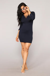 Leandra Knit Dress - Navy Angle 1