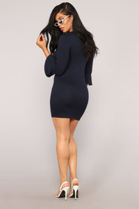 Leandra Knit Dress - Navy Angle 4
