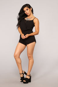 Slightly Sweet Romper - Black