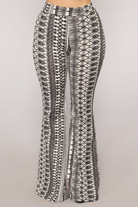 Outside The Lines Flare Pants - Black/White
