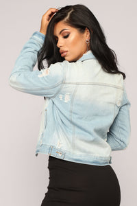 Here For The Long Run Denim Jacket - Light Wash