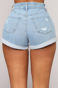 A Day At A Time Distressed Shorts - Light Blue Wash