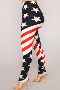 Party In The USA Print Leggings - MultiColor
