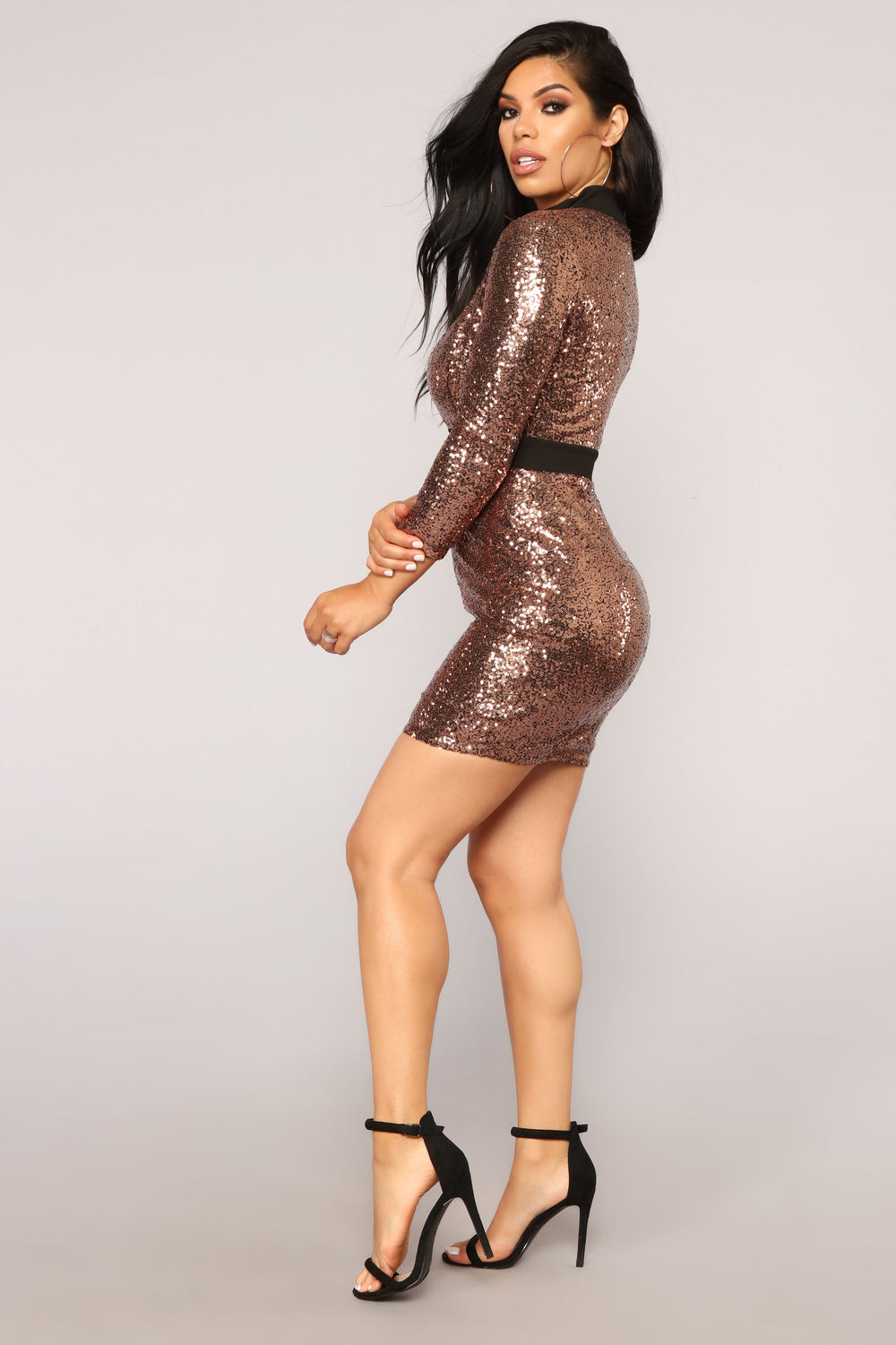 Chloe Sequin Dress - Rosegold