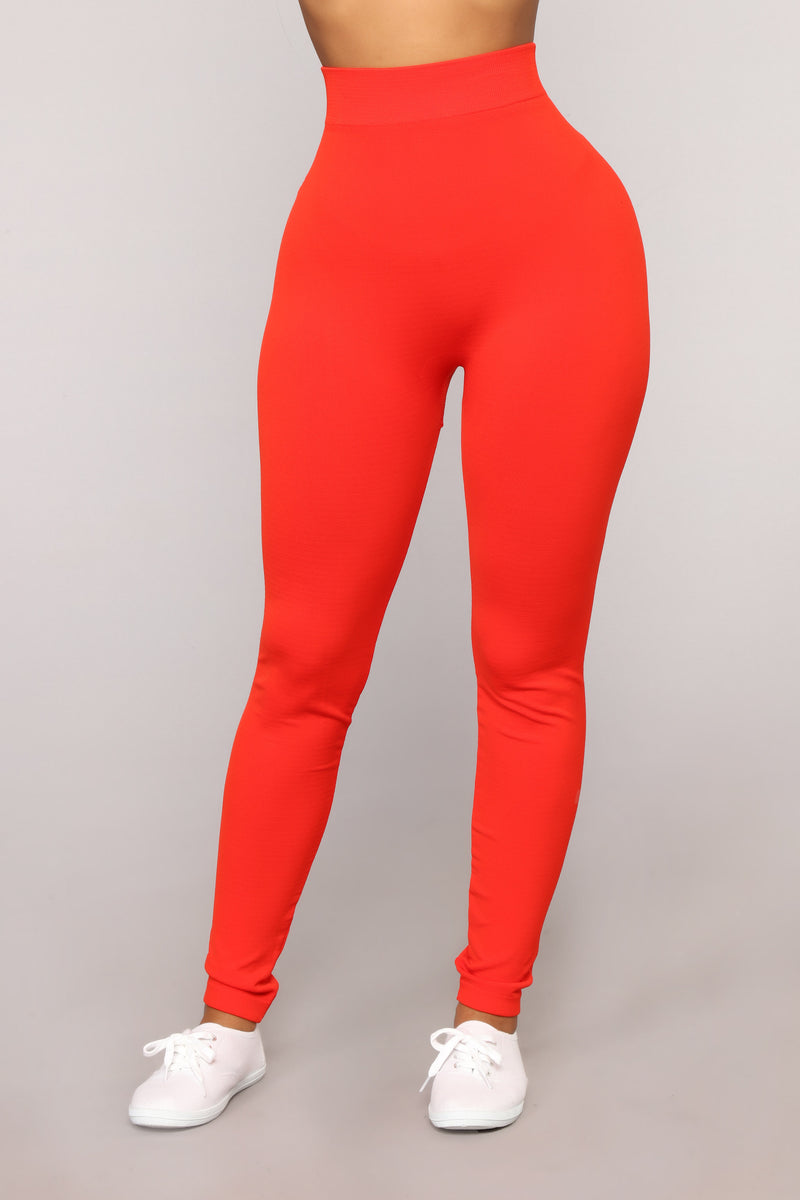 Underneath Everything Layering Leggings - Red