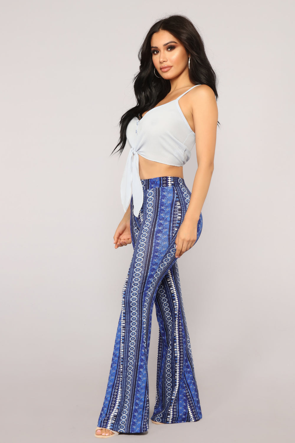 Keep In Line Flare Pants - Blue/White