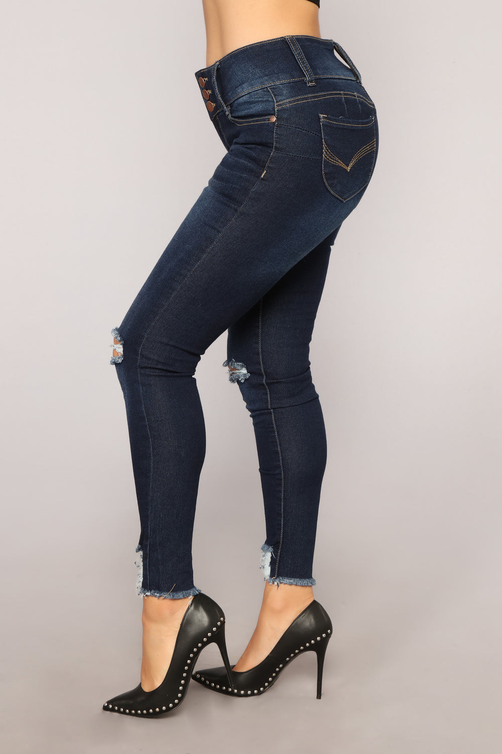 Not A Side Chick Distressed Jeans - Dark Denim