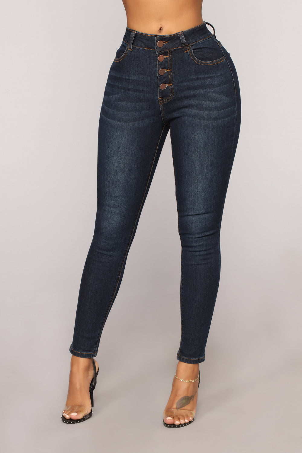 Los Angeles Bound Ankle Jeans - Dark Denim