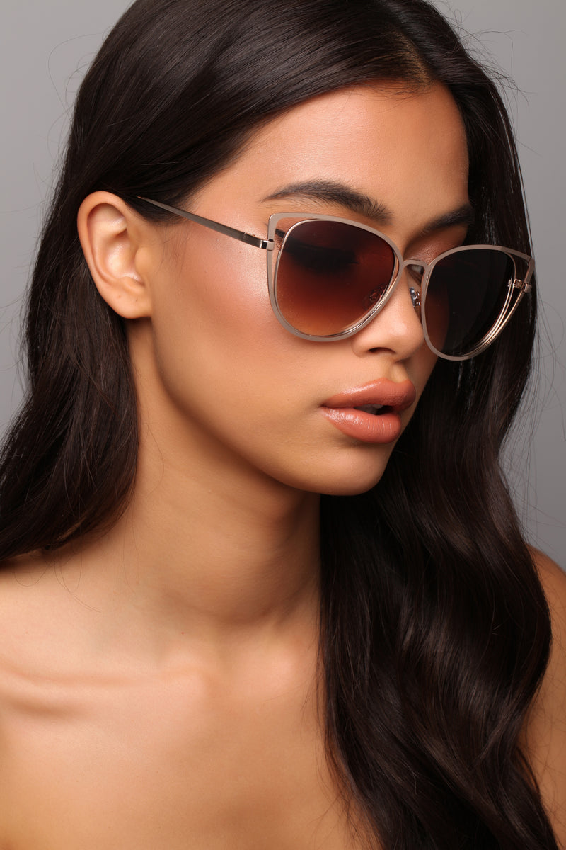 Sneak Up On You Sunglasses - Gold